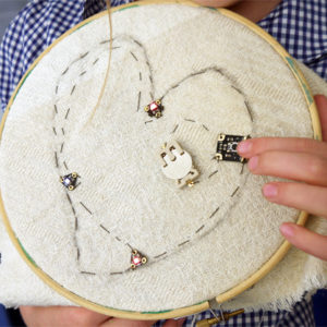 Sewing using electrical circuit components