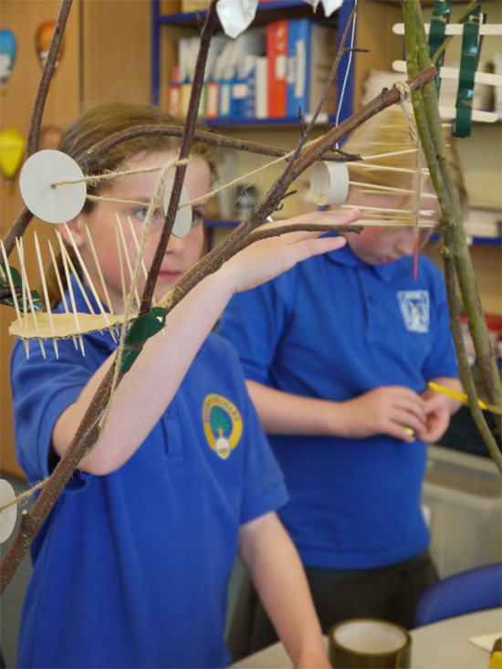 Children were encouraged to think about how to balance their tree houses