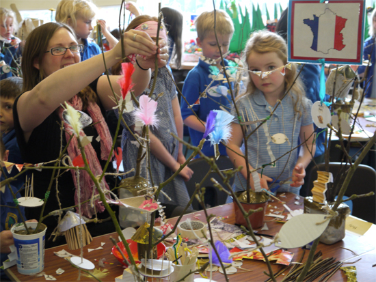 Art week: making treehouse sculptures - a whole school project