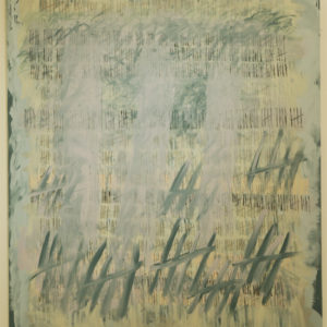 "Artist Sue Gough describes her approach to drawing with layers of marks and scribbles; asemic text or ""secret writing"", as well as actual words and sometimes, collage."