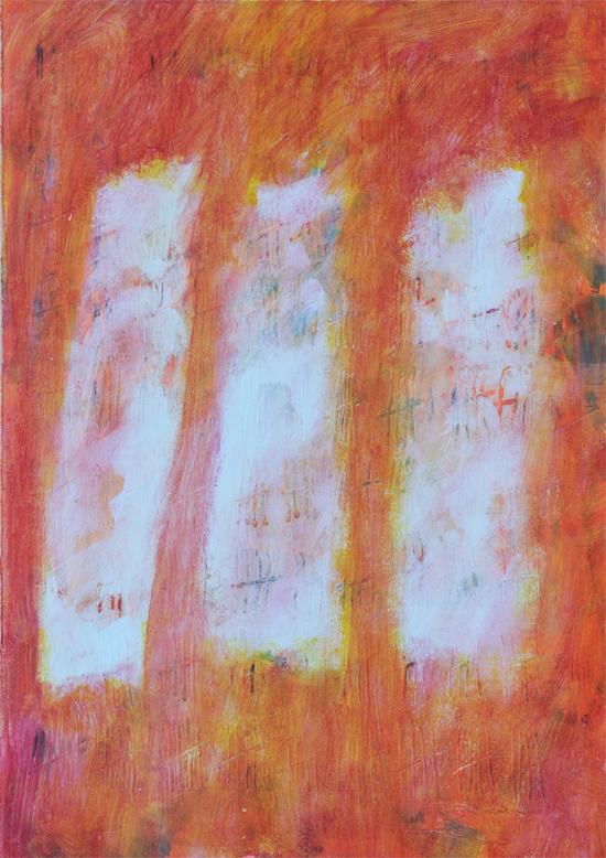 Autumn Study by Sue Gough. Gouache, emulsion, coloured pencil on paper