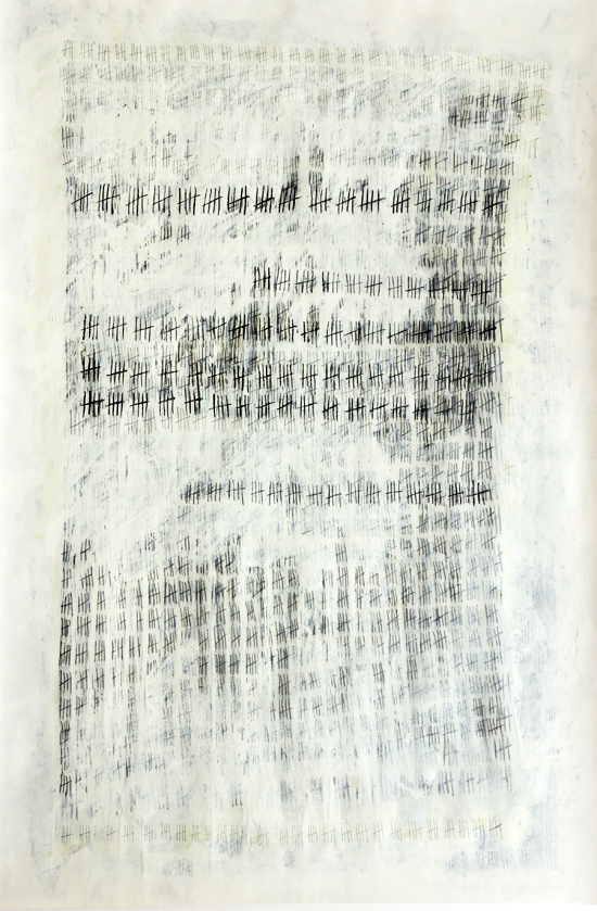 Fading by Sue Gough. Graphite, ink, emulsion on paper