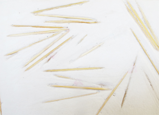By Rowan Smith, Sculptural drawing with plaster and cocktail sticks