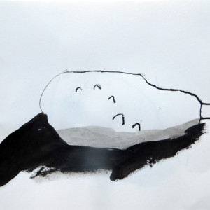 Simple guided exercise using ink to aid looking and help children convey form.