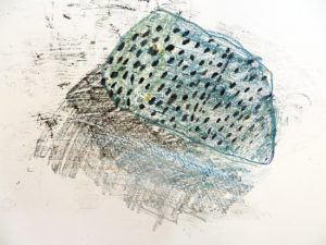 Paula Briggs introduces children in her drawing class , aged 6 - 9 to drawing fossils and carbon paper as a medium for monoprinting.