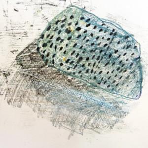 Carbon and oil pastel mono print