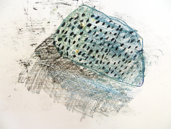 Monoprinting: Carbon and oil pastel monoprint