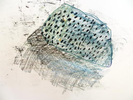 Monoprinting: Carbon and oil pastel monoprint