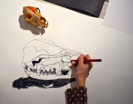 This workshop on drawing skulls was about looking and the re-examination of marks and lines. Students used black pen to create continuous line drawings on A1 paper.