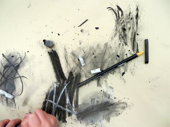 9 Actions of using charcoal - a guided whole class introduction.