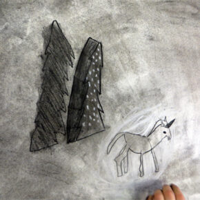 """ADAPT the Drawing Stories resource and enable children to make a creative response to the environment they built above by exploring charcoal. Explore """"chiaroscuro"""" (light/dark) to create drama and mood."""