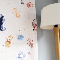 Designing wall paper with children
