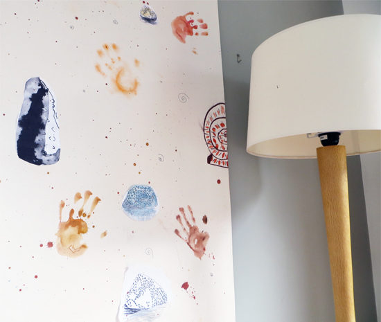 Children used photocopies of their own drawings as inspiration to have a go at designing wallpaper with Paula Briggs.