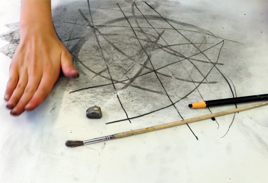 Charcoal Warm-Up Exercise for Set Design with Primary Aged Children