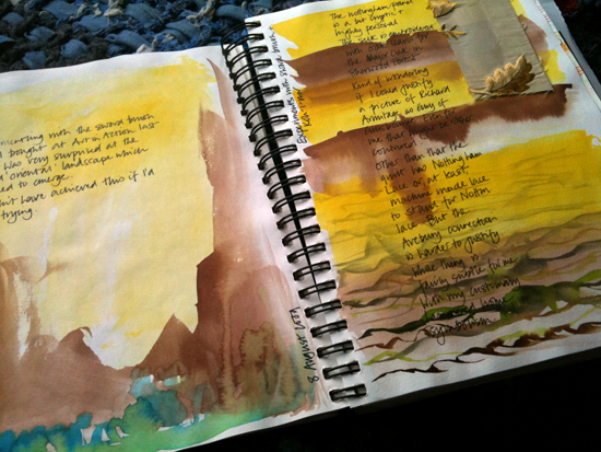 Body Shop sketchbook with 'found' landscapes.