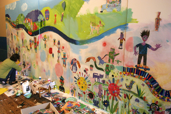 Creation of Mural by Tracy McGuinness-Kelly