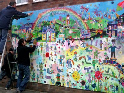 Using 'stories from the playground' to create a collaborative mural.