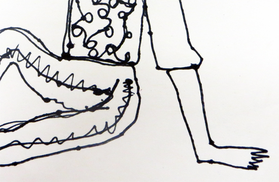 Details of a continuous line drawing aimed at encouraging the child to really observe the pose