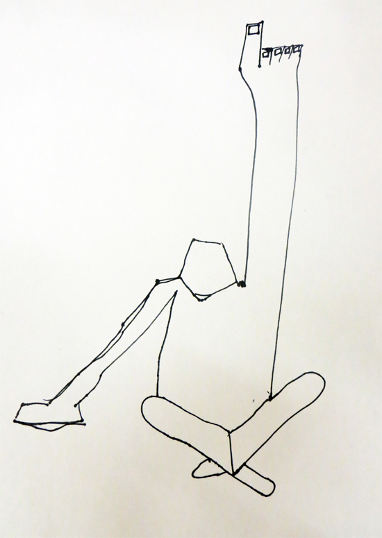 Short, straight, rhythmical marks: I like the sense of space within the body in this drawing, and the shape created by the crossed legs