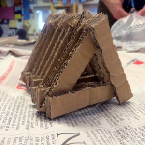 """Cardboard is a flexible, versatile and cheap material to use to explore sculptural ideas. Staff at Ridgefield Primary School explore making cardboard sculptures during a staff training day. [themify_button style=""""xlarge block"""" link=""""/thinking-three-dimensionally-with-cardboard/"""" color=""""#78608e"""" text=""""#ffffff""""]Read More[/themify_button]"""