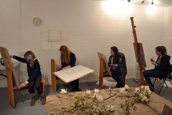 Students explore colour mixing and draw spring blossoms at AccessArt's Experimental Drawing Class