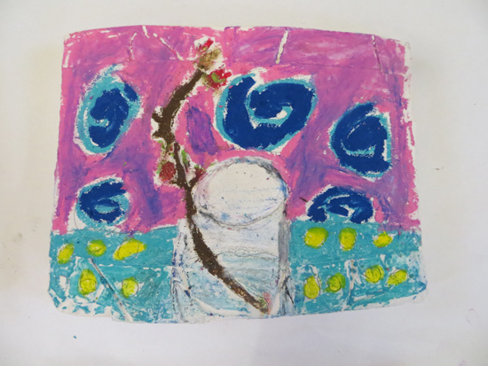 "Inspired by Vincent Van Gogh's ""Sprig of Flowering Almond in a Glass"", this resource shares a method for painting on plaster using oil pastel, linseed oil and graphite. (Card could be used as an alternative to plaster). It includes drawing exercises and learning to use a viewfinder to facilitate an open-ended exploration of painting."