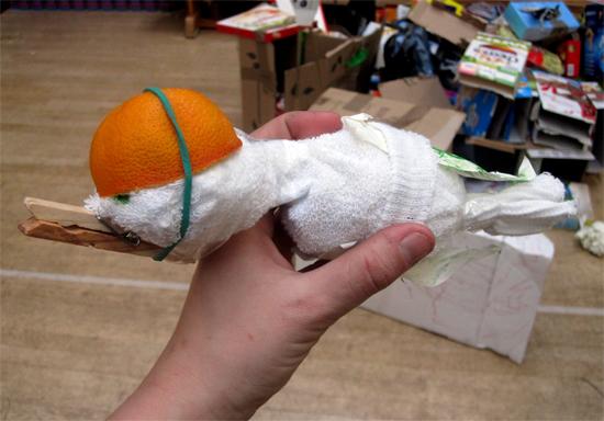 A messenger pigeon wearing an orange as a crash helmet