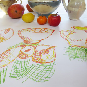 Gestural drawing helps students make free, intuitive sketches.  This quick and easy exercise uses four colours of ink to help develop awareness of the stages of a gestural drawing and to add an energy to the finished sketches.