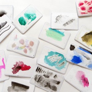 """Children use """"drawing materials to illustrate drawing materials"""". Promotes exploration of materials, observation, and produces a useful classroom resource."""