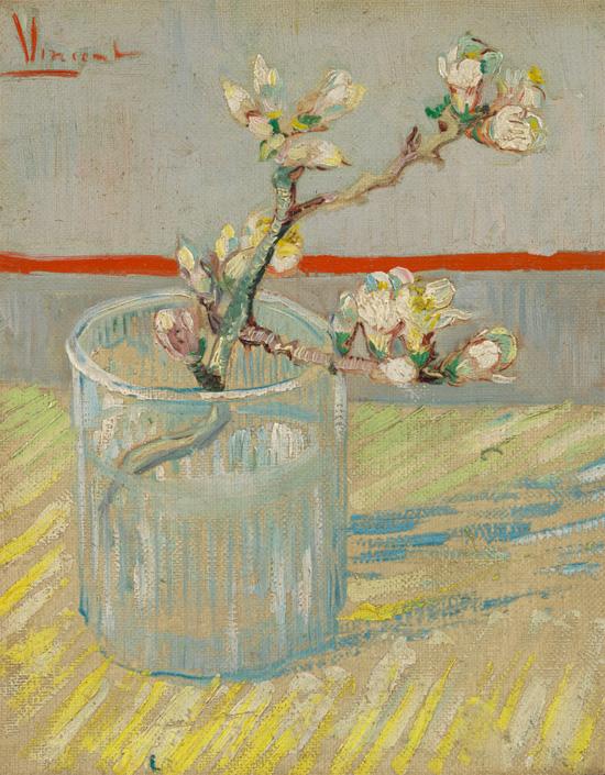 Vincent van Gogh (1853 - 1890) Sprig of flowering almond in a glass, 1888 Arles oil on canvas, 24.5 x 19.5 cm Van Gogh Museum, Amsterdam (Vincent van Gogh Foundation) s184V/1962 F392