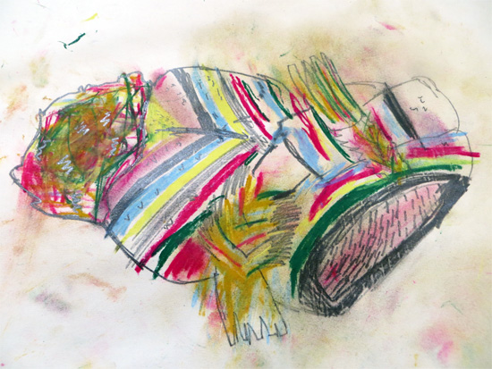 A beautiful resource to explore drawing textiles using pastels and graphite, to capture the texture of fabric.
