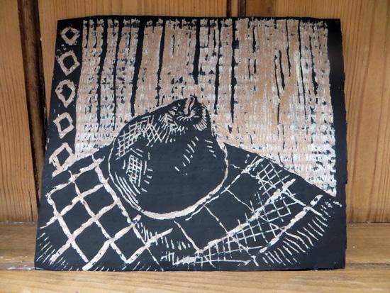 Scraperboard Drawing on Corrugated Card