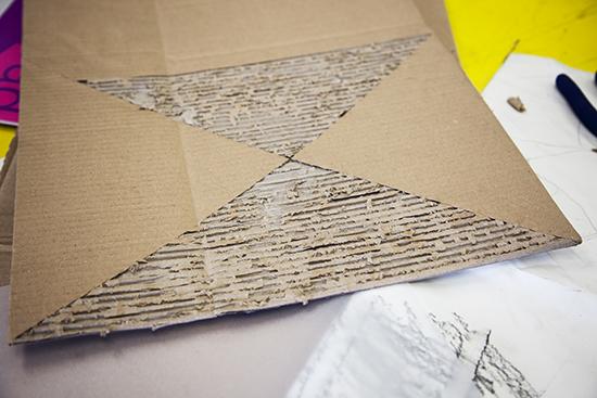 Transformed cardboard - material for making sculpture!