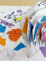 Using the work of Joan Miro to explore colour, shape and composition. Children use collage and mark making to create colourful and lively images. Ideas are developed further through sculpture, using cardboard and wire to build 3D structures based on their collages.