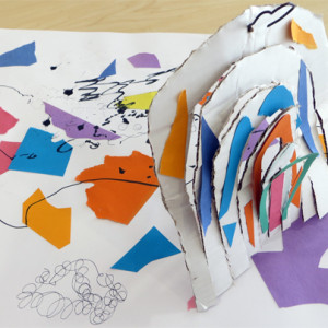 An exciting activity that uses the work of Joan Miro to explore colour, shape and composition.  Children use collage and mark making to create colourful  and lively images. Ideas are developed further through sculpture, using cardboard and wire to build 3D structures based on their collages.