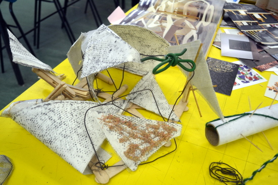 Mixed media response to drawings and spaces of Swavesey Village College