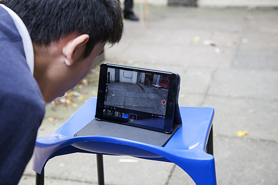 Student sets up his Ipad to record the making process