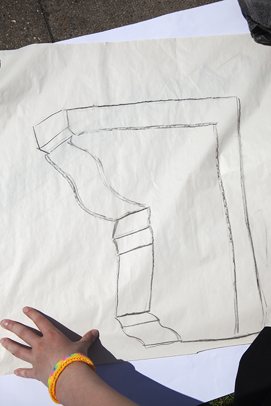 Students are then asked to draw 'one shape' from the fabric of the school - a detail like a brick or window