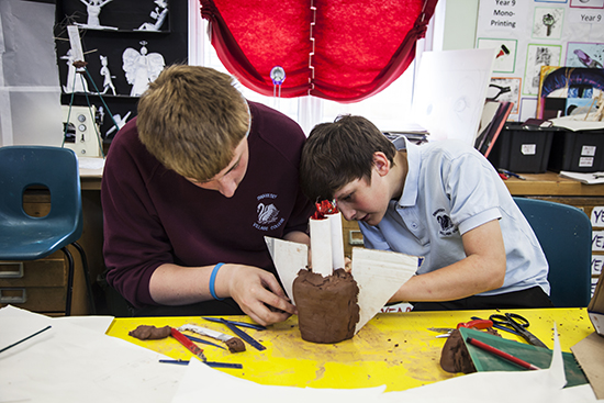 Students at Swavesey Village College work with mixed media - inspired by Susie Olczak