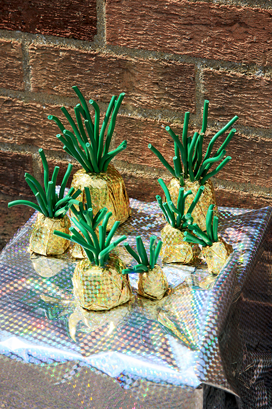 Mixed media 'pineapples' by students at Swavesey Village College