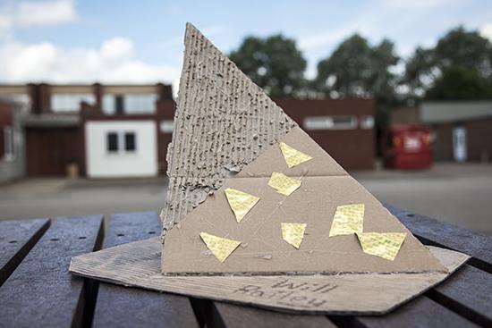 Final piece using transformed cardboard surface to make a sculptural interpretation of space