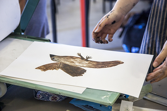 Print taken of a bird for the Manor House