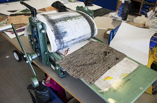 Using the press for monoprinting texture