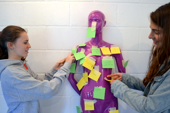 Students put post-it notes on the mannequins to try and understand a bit more about how the group wanted to approach the project
