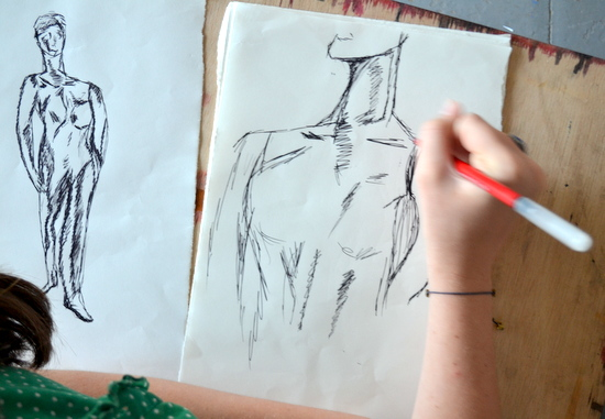 Libby's drawings of the Mitcham's Models