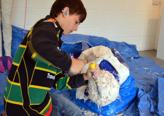 Student works - carving into the plaster to create hair