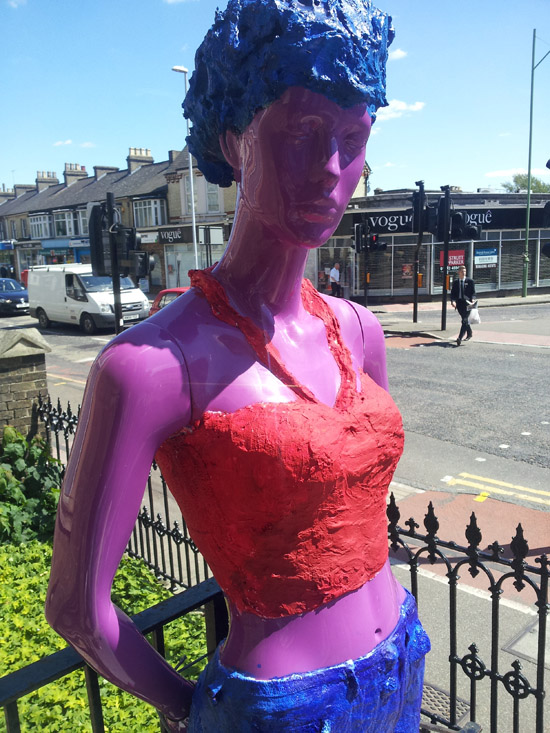 'Friend chatting at Mitcham's Corner' Teenagers created sculptures from old mannequins with other local artists in Cambridge