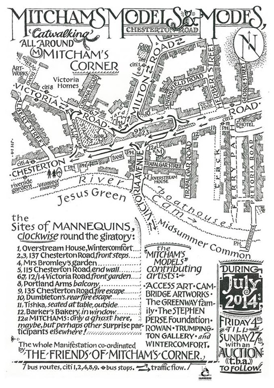 Map of Mitcham's Corner and artists and organisations participating in the 'Mitcham's Models' project by Jon Herns