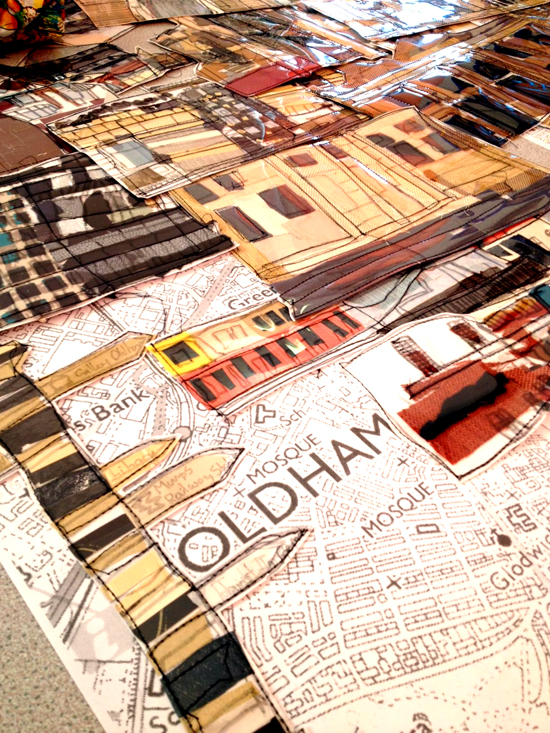 Collaged landmarks of Oldham ready for display at St Thomas C of England Primary School, Oldham