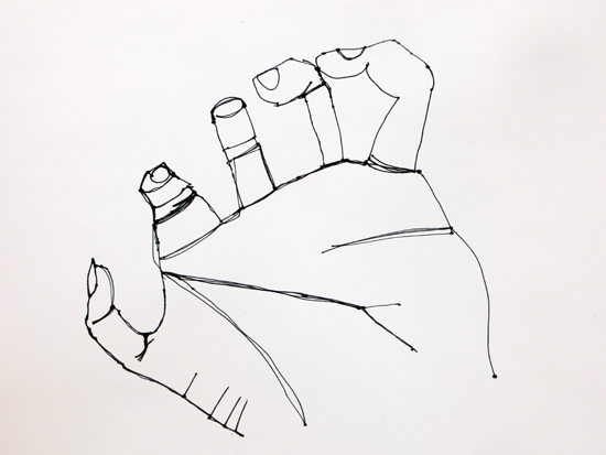 Continuous line drawing of hand